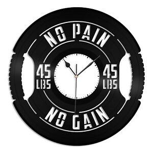 No Pain No Gain Vinyl Wall Clock Souvenir Gift Home Living Room Decoration