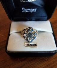 #387 NWT Harley-Davidson women's Stamper ring, 10K white gold, size 6