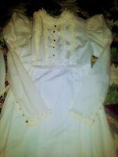 Pioneer Vtg Cream White Prairie Maxi Dress Theater Reenactment Costume Sm 70s