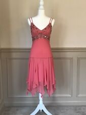 Sue Wong Coral/Bronze Silk Hand-beaded Dress and Shawl - Size 6