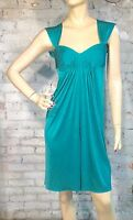 NEW $238 BCBG MAX AZRIA SZ XS COCKTAIL EMPIRE RUCHED DRESS SLEEVELESS JADE GREEN