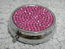 Pink Fuchsia Bling Made with Swarovski Crystal Pill Medicine Box Case Container