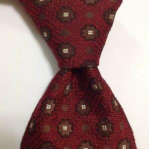 ERMENEGILDO ZEGNA Men's Silk Necktie ITALY Luxury Geometric Red/Brown/Ivory EUC