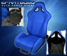 FOR KIA BENZ RECLINABLE CAR AUTOMOTIVE RACING BUCKET SEAT BLUE + RAIL SLIDERS