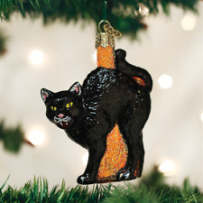 OLD WORLD CHRISTMAS SCAREDY CAT GLASS CHRISTMAS HALLOWEEN ORNAMENT 26080