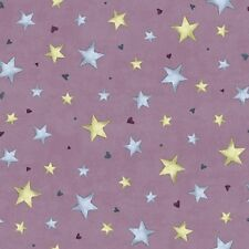 QT Gorjuss by Santoro Rainbow Dreams 24203 V Plum Stars Cotton Fab BTY
