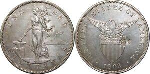 1903 (P) US/Philippines Peso ~ XF/AU Details CHOPMARK ~ Silver ~ A#16.01 ~ X16