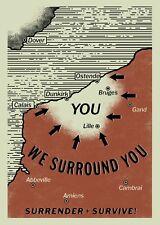 """Dunkirk Movie German propaganda We surround you Surrender+Survive! Poster 21×14"""""""