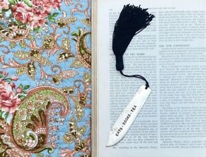 Cats  Books Tea Handcrafted Upcycled Antique Silver Plated Fish Knife Bookmark