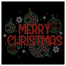 Merry Christmas Ornament Bulb Snow Holiday Rhinestone Hotfix Iron On Transfer