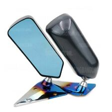 F1 Car Drift Carbon Fiber Looks ABS Side Rearview Mirror with Burnt Blue Base