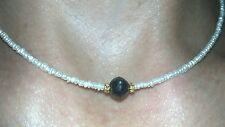 3ct genuine faceted round black 7mm diamond w/ seed pearl solid 14k necklace