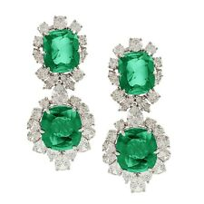 925 Sterling Silver Green Cushion Round Halo Style CZ Statement Dangle Earrings