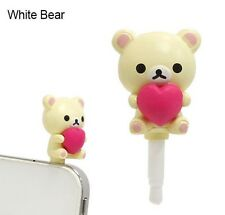 Charapain Rilakkuma White bear holding heart Cellphone earphone anti dust plug