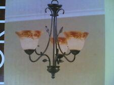 "NIB 24"" 3-Lite Pretty HAND-PAINTED Glass CHANDELIER Ceiling Light antique bronze"