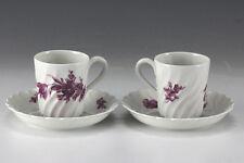 4pc Haviland Limoges Demitasse Cups and Saucers floral decoration, twist fluted
