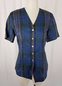 Country Road Australia Button Up Plaid Tunic Shirt Top Womens M V-Neck