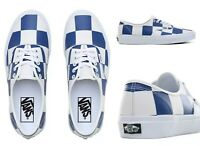 VANS LEATHER CHECK AUTHENTIC SHOES White/ Blue