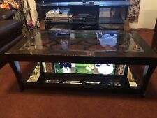 Coffee Table All Wood & Glass with Mirror Used