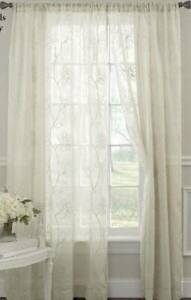 Vintage pair white Laura Ashley sheer cotton embroidered curtain panels 8ft drop