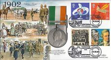 (88732) Gb Benham medalla FDC Boer War 1902 viajeros Whitehall de febrero de 1999 101/1000