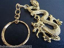 10 x Chinese Antique Golden Dragon Alloy Pendant Key Ring (LF1452YKG-AG)