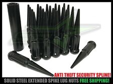 24 Black Spline Spike Lug Nuts Chevy Silverado Sierra 14x1.5 + Anti Theft Key