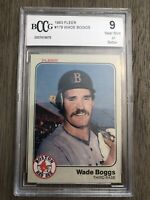 1983 FLEER #179 WADE BOGGS BOSTON RED SOX ROOKIE CARD GRADED BCCG 9