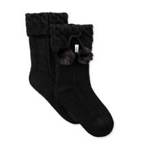 Ugg Women's Pom Pom Black Short Rain Boots Socks Style 1018804 New in Box