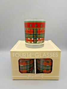 """4 Georges Briard New Double Old Fashioned Low Ball """"Timberland"""" Plaid Glasses"""