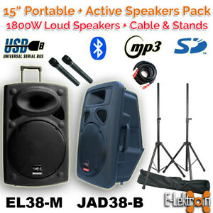 """E-Lektron 2X15"""" inch 1800W Portable+Active Speakers System PA Microphones+Stands"""