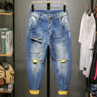 Classic Mens Denim Harem Pants Loose Overalls Jeans Baggy Pants Hip Hop Trousers