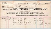 1905 FREEHOLD NJ*STATESIR LUMBER CO*COAL LIME CEMENT PLASTER HARDWARE PAINT OIL