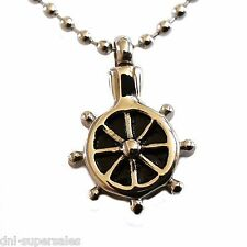 """2 Sets of """"Ship Wheel Sailor"""" Cremation Urn Necklace Stainless Pendant Jewelry"""