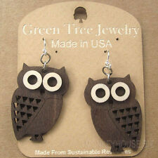 Little Hoot Owl Laser Cut Wood Earrings Green Tree Jewelry COMBINED SHIPPING