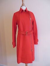 NEW J.CREW BELTED ZIP TRENCHCOAT IN WOOL MELTON, E4396,SZ 6 BRILLIANT FLAME $398