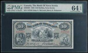 1935 Canada, Bank of Nova Scotia $10 Note McLeod/Patterson Sigs. PMG 64 EPQ