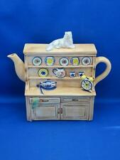 Figural China Hutch Cabinet Buffet Teapot Gray Cat on Lid Hand Painted Italy EUC