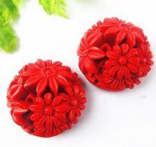2pcs Beautiful cinnabar carved flower pendant bead 32x15mm BD281