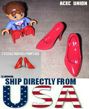"""U.S. SELLER 1/6 Scale High Heel Pumps Shoes RED For 12"""" Female Figures"""