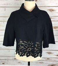 BCBG MAX AZRIA  Cropped Dinner Jacket Womens Sm Asymmetrical Black Lace 1 Button