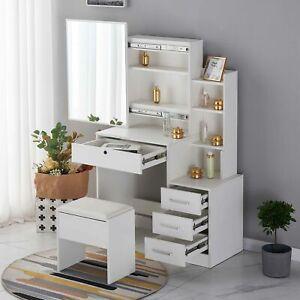 Dressing Table Makeup Desk w/ Sliding Mirror Shelf 4 Drawers High Quality White