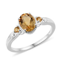 925 Sterling Silver Oval Citrine Ring Jewelry Cttw 1.5