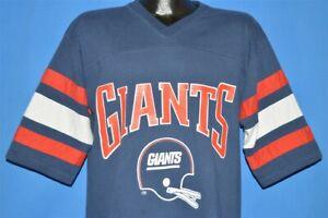 vintage 80s NEW YORK GIANTS LOGO 7 STRIPED JERSEY V NECK HELMET t-shirt LARGE L