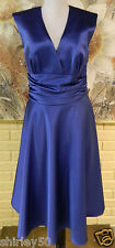 NEW SAMPLE BRIDAL DRESS AFTER SIX SIZE 8 SAILOR BLUE MATTE SATIN POLYESTER DRESS