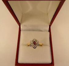 REDUCEd Pretty Vintage Solid18ct Gold RUBY Gemset Cluster Ring Sz O Hm 4gr 535n
