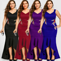 Plus Size Womens Evening Dress Sleeveless Party Mermaid Wedding Long Maxi Dress