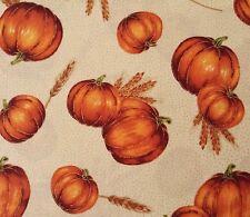 Autumn Glow Quilting Treasures BTY Orange Pumpkins on Cream Gold Highlights