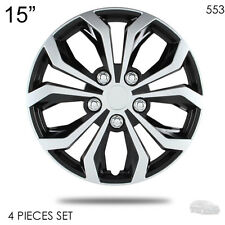 "NEW 15"" ABS SILVER RIM LUG STEEL WHEEL HUBCAPS COVER 553 FOR KIA"