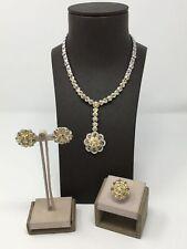 18K White Gold Diamond & Yellow Sapphire Necklace, Earrings, & Ring Set